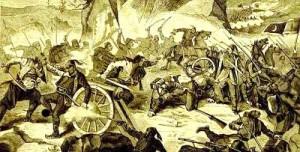"""Битка на Вучијем долу, илустрација часопиа """"Орао"""" 1877. године."""